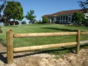 New Wood Round Rail & Cedar Split Rail Fence